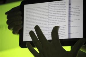 The Google Books app is shown on Google's Android operating system, Honeycomb, on a Motorola Xoom tablet device following a news conference at Google Headquarters in Mountain View, California